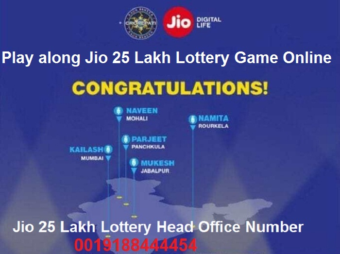 Play along Jio 25 Lakh Lottery Game Online