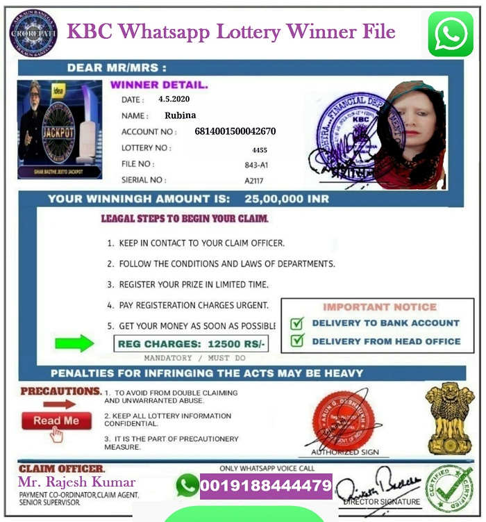KBC Whatsapp Lottery File